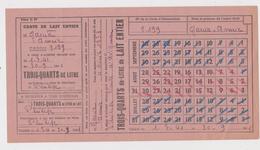 BON RATIONNEMENT COUPON BON OCCUPATION RAVITAILLEMENT CARTE TROIS QUARTS LITRE LAIT  CAVAILLON 1941 Nom GARCIA Annie - 1939-45