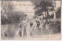 CARTE ECRITE DE CHATEAUROUX EN 1903 - SCENE DU CENTRE : BAIGNADE ENFANTINE - 2 SCANS - - Chateauroux