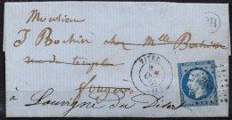 FRANCE - 20 C. Sur Lettre Avec OR Et Un Anneau-lune Entre La Barbe Et Le Cou - 1853-1860 Napoléon III