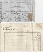 PONTOISE A  AMIARD LOTS DE 4 DOCUMENTS SUR LA FAILLITE A AMIARD ORDRES DE BOURSE AVEC TIMBRE FISCALE ANNEE1883 - France