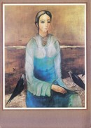 GREETINGS CARD - SEASON'S GREETINGS - PAINTING OF WOMAN - THE STATE TRADING CORPORATION OF INDIA LTD. - SAVE A CHILD - Old Paper