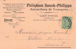 TRAZEGNIES ,carte Publicité , Plilémon Sonck-Philippe ,Charbon,chaux,paille,pomme De Terre,foin,engrais,_ _ _ - Courcelles
