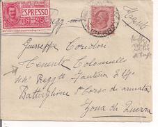 LEONI Cent.10,TARIFFA RIDOTTA MILITARE,1916,ESTESA AGLI UFFICIALI,DAL 1915 AL 1920,PIU' ESPRESSO,TIMBRO POSTE ROMA, - 1900-44 Victor Emmanuel III.