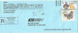 St Kitts 1999 Basseterre Lucas' Blue Butterfly University West Indies $2 Registered Cover - St.Kitts En Nevis ( 1983-...)