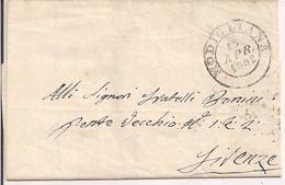 PREFILATELICA  MODIGLIANA - FIRENZE, 1852, CON TESTO-TRANSITO ROCCA S. CASCIANO- - Etats Pontificaux