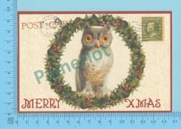 """CPM - Merry Xmass, Hiboux,"""" Faux Timbre"""" - 2 Scans - Oiseaux"""