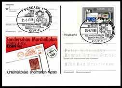 96342) BRD - SoST 6966 SECKACH 1 Vom 25.06.1988 Auf PSo 16 - 100 Jahre Eisenbahn -Walldürn, Dampflok - BRD