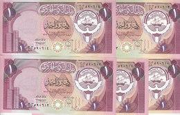 KUWAIT 1dinar 1980 1991 P-13d Sig/6 LOT X 5 UNC NOTES */* - Kuwait