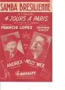 Partition- 4 Jours A Paris - Andrex Et Nelly Wick  -  Paroles : R. VINCY -  Musique: F. LOPEZ - Non Classés