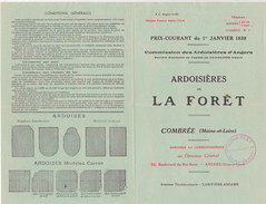Prix-Courant 1939 - Ardoisières De La Forêt (Combrée) (illustrations) - 1900 – 1949