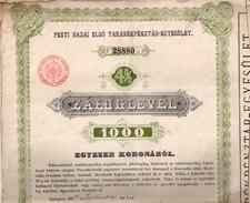 Pesti Hazai Elsö Tararékpénztar-Egyesület - Lettre De Gage De 1000 Couronnes - Banque & Assurance