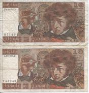 Lot De 2 Billets De 10 Francs Berlioz - 1962-1997 ''Francs''