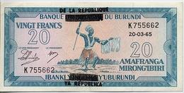 BURUNDI Provisional Issue 20 Franks (1965) Pick#15 AUNC [overprint On #10] - Burundi
