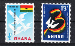 Ghana   -   1960. Indipendenza. I Due Francobolli Con Colombe. The Two Stamps With Doves. MNH - Piccioni & Colombe