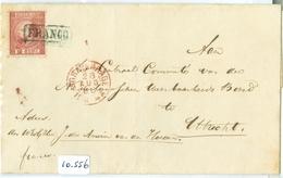 BRIEFOMSLAG * NVPH 8 * 10 Ct WILLEM III * Op Brief 1866 Van 's-GRAVENHAGE Naar UTRECHT FRANCO STEMPEL (10.556) - 1852-1890 (Wilhelm III.)
