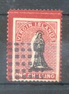 VIERGES - BRITISH VIRGIN ISLANDS CIRCA 1867 YVERT NR. 7 ONE PENNY CARMIN ET NOIR BORDURE COLOREE RARISIME DENTELE 12,5 - Britse Maagdeneilanden