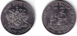 SAINT KITTS & NEVIS -20 Dollars 1982   BATTLE OF THE SAINTS  Unc-  KM#4 [Rare Type] - Coins
