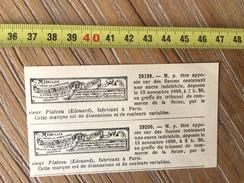 MARQUE DEPOSEE 1888 ENCRE INDELEBILE EDOUARD PLATEAU FABRICANT A PARIS - Old Paper