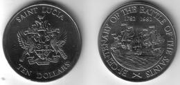 SAINT LUCIA -10 Dollars 1982   BATTLE OF THE SAINTS  BU   KM#12  [Rare Type] - Coins