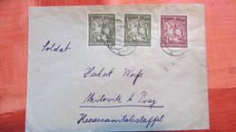 DR Bis 45: Doppel-Brief Mit 6+6+12 Pf Goldschmiedekunst Vom 710.43 Nach Milowitz Bei Prag Knr: 860/1 - Deutschland