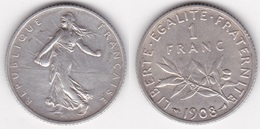 1 FRANC SEMEUSE 1908 En ARGENT  (voir Scan) - Francia