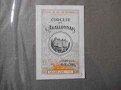 CIRCUIT DE L'AVALLONNAIS SERVICE D'AUTO-CARS SAISON D'ETE 1921 CHEMINS DE FER PARIS-LYON-MEDITERRANEE - Bourgogne