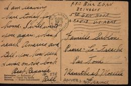 Guerre 39/45 Occupation Américaine Belgique Anvers APO 598 FM Franchise Militaire - Guerre 40-45
