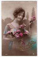 36 - BONNE FETE -  Jeune Dame - Fleurs - Holidays & Celebrations
