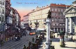 TRIESTE (Slowenien, Heute Italien) - Piazza Della Borse, Strassenbahn, 1910? - Slowenien