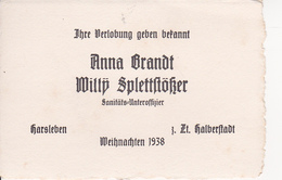 AK Verlobungsanzeige - Halberstadt Harsleben - Weihnachten - 1938  (26291) - Engagement
