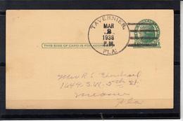 U.S.POSTAGE Entier De 1c  De  TAVERNIER  FLAG Floride  Le 2 MARS 1938  Cachet Militaire P.M.