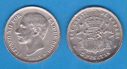 ESPAÑA  ALFONSO XII   5 PESETAS  1.885  SC/UNC   Réplica DL-12.002 - [ 1] …-1931 : Reino
