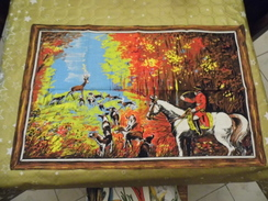 - Torchon Toile Tissu  - Chasse à Cour - - Rugs, Carpets & Tapestry