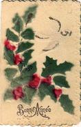 Gaufrée à 2 Volets - Fête : Bonne Année - Plante Et Fleur : Houx - Oiseau : Messagère - Poème - Fantaisies
