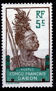 Gabon (French Colony),  Warrior, 5c., 1910, MH VF - Ongebruikt