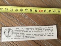 MARQUE DEPOSEE 1888 ETIQUETTE VIN CHAMPAGNE SAINT ELME JEAN JULES FISSE NEGOCIANT A REIMS - Collections