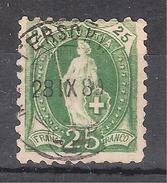 SUISSE / Schweiz 1888 , Yvert N° 82, 25 C Vert DENTELE 9 1/2 , Obl  , TB - 1882-1906 Armoiries, Helvetia Debout & UPU