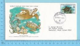The Green Turtle, Tortue 1979 - WWF, FDC, PPJ  - Turks & Caicos Islands ( # 381 ) -Panda Logo On  Envelope - Turtles