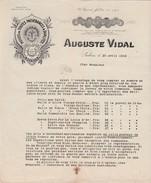 Tarif 1918 Huile D'olive, Savon / Auguste VIDAL / Salon De Provence 13 / Huilerie St Come - Alimentos