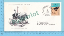 Strutho Camelus, Ostrich, Autruche- 1978 - WWF, FDC, PPJ  - Niger ( # 448 )  - Panda Logo On Stamp And Envelope - Autruches