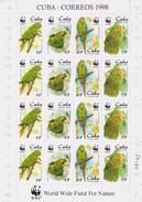 Cuba 1998 WWF FAUNA BIRDS PARROTS Sheetlet - Papageien
