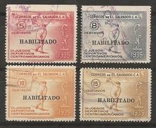SALVADOR 1935 - Yvert #496/99 - VFU - El Salvador