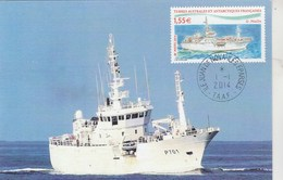 TAAF Carte Maximum  FDC Yvert 691 Bateau Patrouilleur Le Malin Iles Eparses Juan De Nova 1/1/2014 - FDC