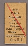 (DH4-057) Pappfahrkarte  (DDR Reichsbahn)--> Eilzug Erfurt - Arnstadt über Eisenach - Treni