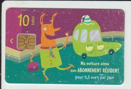 CARTE De STATIONNEMENT  Pour  HORODATEUR - Ma Voiture Aime Son Abonnement Résident - Mairie De PARIS -  -  2 Scannes. - France