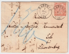"""Sachsen, 1868, Nachverw. """" RASCHA """", Ort! , #6827 - Sachsen"""