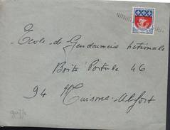 """Lettre, Annulation à L'arrivée  Griffe """"...St Saturnin """" Sur Timbre 0,30  Blason De Paris - Variedades Y Curiosidades"""