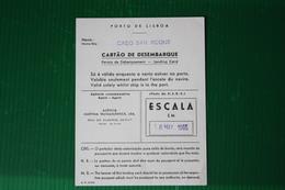 "CARTA DI SBARCO LISBONA -  MN ""CABO SAN ROQUE"" - 1965 - Carte D'imbarco Di Navi"