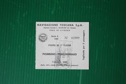 """BIGLIETTO CORSA SEMPLICE TRAGHETTO  MN """"AETHALIA"""" ISOLA D'ELBA- 1966 - Europa"""