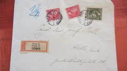Dt Besetzg: Doppel-R-Brief Böhmen Und Mähren Mit 3 K MiF Aus Prag 55 (1095) Nach Halle 1.11.43 Knr: 102 - Deutschland